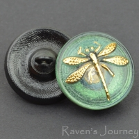 (18mm) Round Dragonfly Green Tourmaline with Gold Painted Dragonfly
