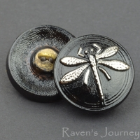 (18mm) Round Dragonfly Jet with Silver Painted Dragonfly