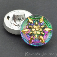 (13mm) Round Star Green and Pink Iridescent with Gold Paint