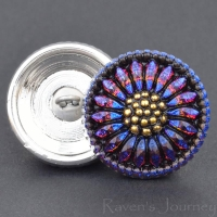 (18mm) Round Sunflower Purple Blue Iridescent and Jet with Gold Paint