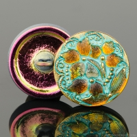(18mm) Round Lacy 3 Flower Design Golden Orange Transparent with Turquoise Wash and Gold Paint