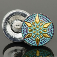 (18mm) Round Star Purple Iridescent with Turquoise Wash and Gold Paint