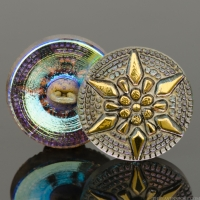 (18mm) Round Star Gold and Blue Iridescent with Antiqued Finish and Gold Paint