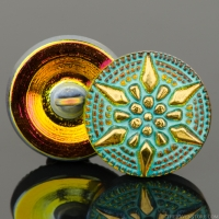 (18mm) Round Star Golden Orange with Turquoise Wash and Gold Paint