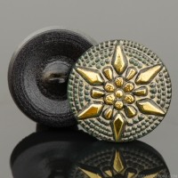 (18mm) Round Star Tourmaline Green with Antiqued Finish and Gold Paint