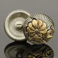 (18mm) Round Flower Design White Bronze with Antique Finish and Gold Paint