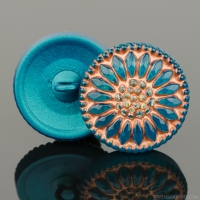 (18mm) Round Sunflower Turquoise Teal with Copper Wash