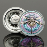 (18mm) Round Dragonfly Aqua/Pink Iridescent with Platinum Paint