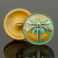 (18mm) Round Dragonfly Gold with Turquoise Wash and Gold Paint