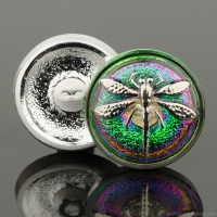 (18mm) Round Dragonfly Green/Iridescent with Platinum Paint