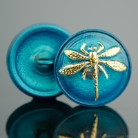 (18mm) Round Dragonfly Teal Turquoise with Gold Paint