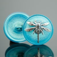 (18mm) Round Dragonfly Aqua Blue with Silver Paint