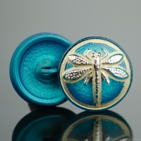 (18mm) Round Dragonfly Teal Turquoise Antiqued with Platinum Paint