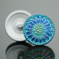 (18mm) Round Sunflower Blue Iridescent with Aqua Wash and Gold Paint