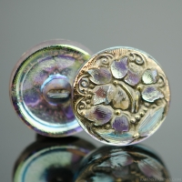 (18mm) Round Lacy 3 Flower Design Iridescent AB Finish Antiqued with Gold Paint