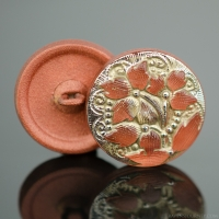 (18mm) Round Lacy 3 Flower Design Copper Orange Antiqued with Platinum Paint