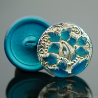(18mm) Round Lacy 3 Flower Design Teal Turquoise Antiqued with Platinum Paint