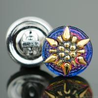 (13mm) Round Star Blue Purple Iridescent with Gold Paint