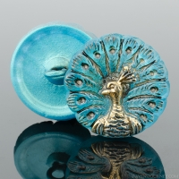 (18mm) Round Peacock Aqua Antiqued with Gold Paint