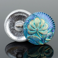 (18mm) Round Flower Design Electric Aqua Blue and Purple Iridescent with Turquoise Wash and Gold Paint