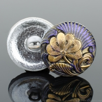 (18mm) Round Flower Design Electric Purple Iridescent Antiqued with Gold Paint