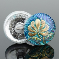 (18mm) Round Flower Design Blue and Purple Iridescent with Turquoise Wash and Gold Paint