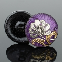 (18mm) Round Flower Design Purple with Gold and Platinum Paint