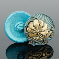 (18mm) Round Flower Design Aqua Blue Antiqued with Gold Paint