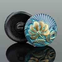 (18mm) Round Flower Design Purple with Turquoise Wash and Gold Paint