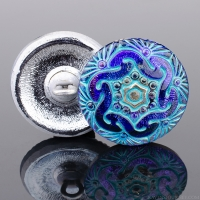(18mm) Round Spiral Electric Blue/Purple with Aqua Wash