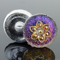(18mm) Round Lacy Star Blue and Purple Iridescent with Gold Paint
