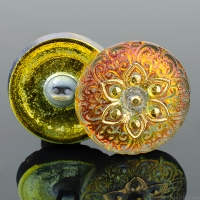 (18mm) Round Lacy Star Golden Orange Iridescent with Gold Paint