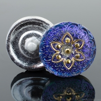 (18mm) Round Lacy Star Electric Purple with Gold Paint