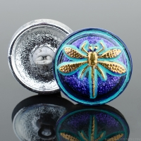 (18mm) Round Dragonfly Electric Tanzanite Purple with Aqua Wash and Gold Paint