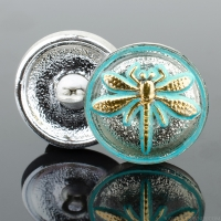 (18mm) Round Dragonfly Champagne with Turquoise Wash and Gold Paint
