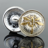 (18mm) Round Dragonfly Champagne with Gold Paint