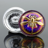 (18mm) Round Dragonfly Purple and Blue Iridescent with Gold Paint