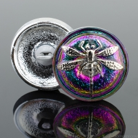 (18mm) Round Dragonfly Green and Purple Iridescent with Platinum Paint