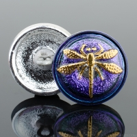 (18mm) Round Dragonfly Electric Tanzanite Purple and Blue Iridescent with Gold Paint