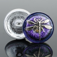 (18mm) Round Dragonfly Electric Tanzanite Purple and Blue Iridescent with Platinum Paint
