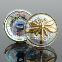 (18mm) Round Dragonfly Golden Blue Iridescent Antiqued with Gold Paint