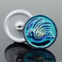 (18mm) Round Bird Design Electric Blue/Purple with Turquoise Wash