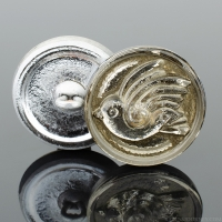 (18mm) Round Bird Design Champagne with Antique Wash