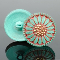(18mm) Round Sunflower Mint Green and Red Wash with Gold Paint