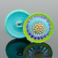 (18mm) Round Sunflower Aqua, Purple, and Gaspeite Green with Gold Paint