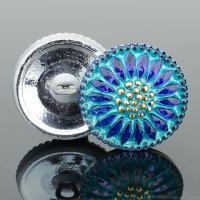 (18mm) Round Sunflower Tanzanite Purple with Aqua Wash and Gold Paint