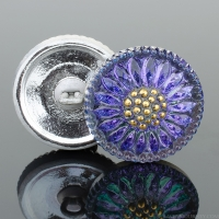 (18mm) Round Sunflower Tanzanite Purple/Blue with Gold Paint