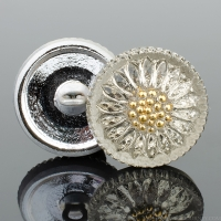 (18mm) Round Sunflower Champagne with Gold Paint