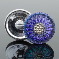 (18mm) Round Sunflower Tanzanite Purple/Blue with Platinum Paint
