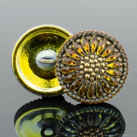 (18mm) Round Sunflower Golden Orange Antiqued with Gold Paint